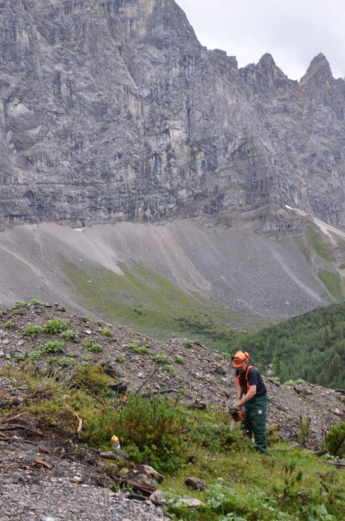 Team Karwendel bei Almpflegemaßnahmen auf der Lalidersalm 2016