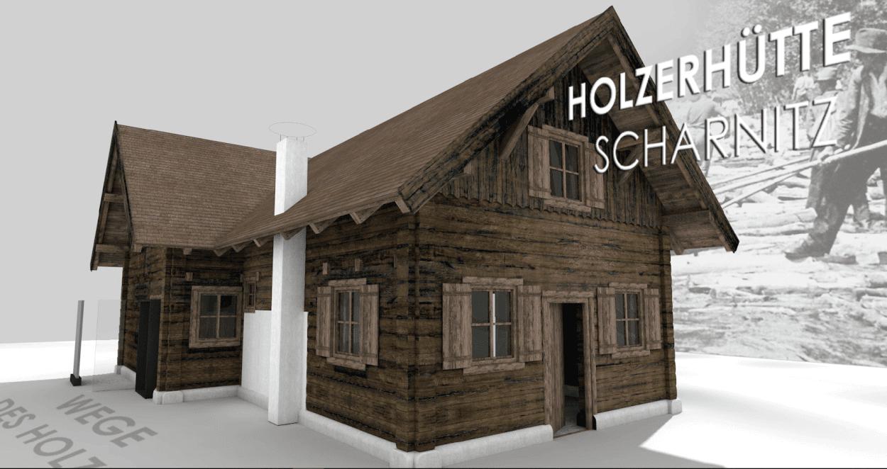 """Außenansicht der Holzerhütte in Scharnitz zum Projekt """"Wege des Holzes"""""""