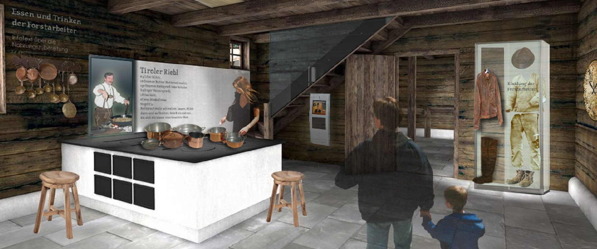 """Innenansicht eines Ausstellungsraum des Museums """"Wege des Holzes"""""""