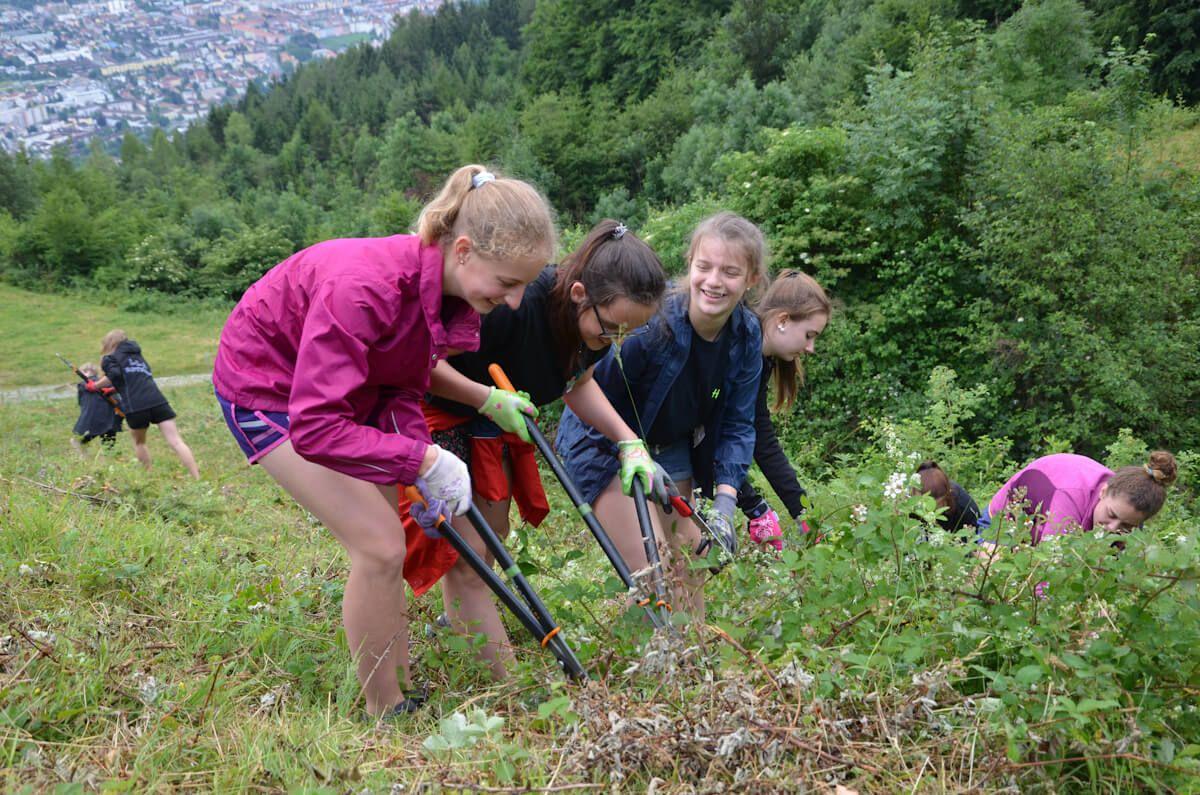 Schüler bei Almpflegemaßnahmen bei der Clean up Challenge auf der Arzler Alm 2017
