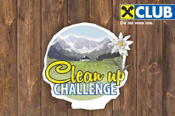 Postkarte Einladung zur clean up challenge mit dem Sponsor Raiffeisen Club.