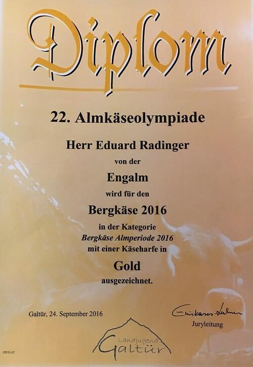 Diplom Almkäseolympiade für Eduard Radinger von der Engalm
