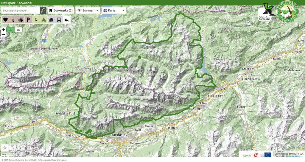 Interaktive Karte vom Naturpark Karwendel