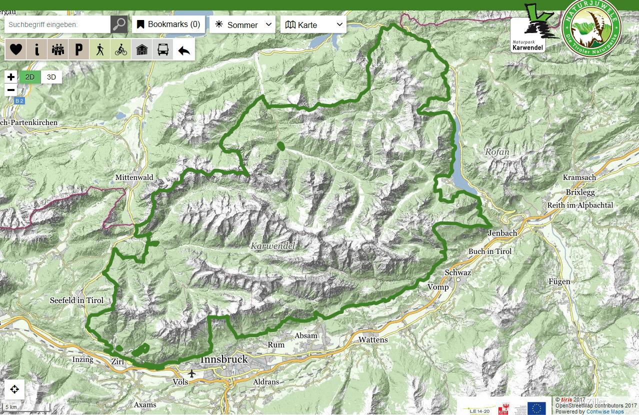 Interaktive Karte des Naturpark Karwendel
