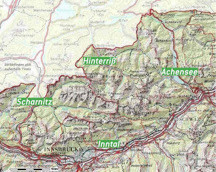 Karte mit Zugängen ins Karwendel