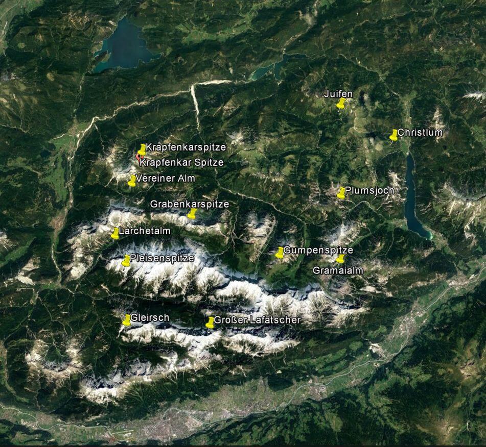 Satellitenbild mit Namen im Karwendel