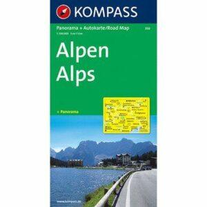 Kompass Panorama- und Autokarte Alpen