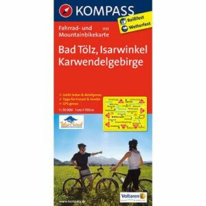 Kompass Fahrrad- und Mountainbikekarte Bad Tölz, Isarwinkel, Karwendelgebirge