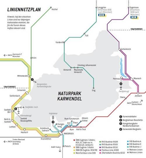 Liniennetzplan für die Anreise mit öffentlichen Verkehrsmitteln