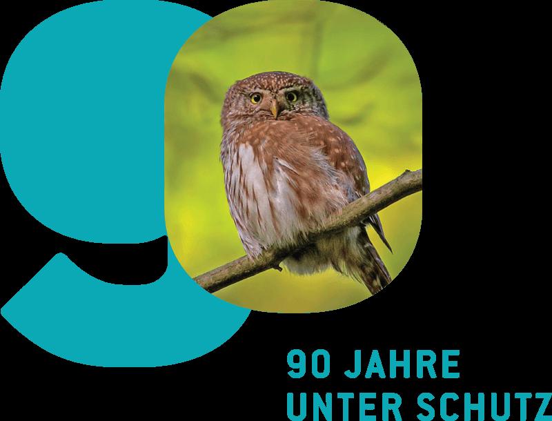 Logo 90 Jahre unter Schutz mit Sperlingskauz