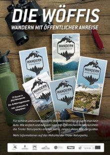 Plakat mit den WÖFFIs der fünf Tiroler Naturparke