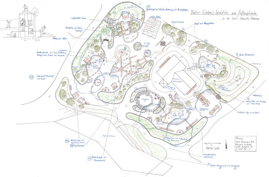 Plan des neuen Spielplatzes in Scharnitz