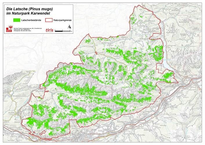 Karte des Naturpark Karwendel mit dem Verbreitungsgebiet der Latsche (Pinus mugo)