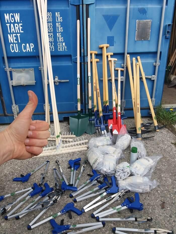 Für das Team Karwendel gespendetes Werkzeug vom Tiroler Lagerhaus