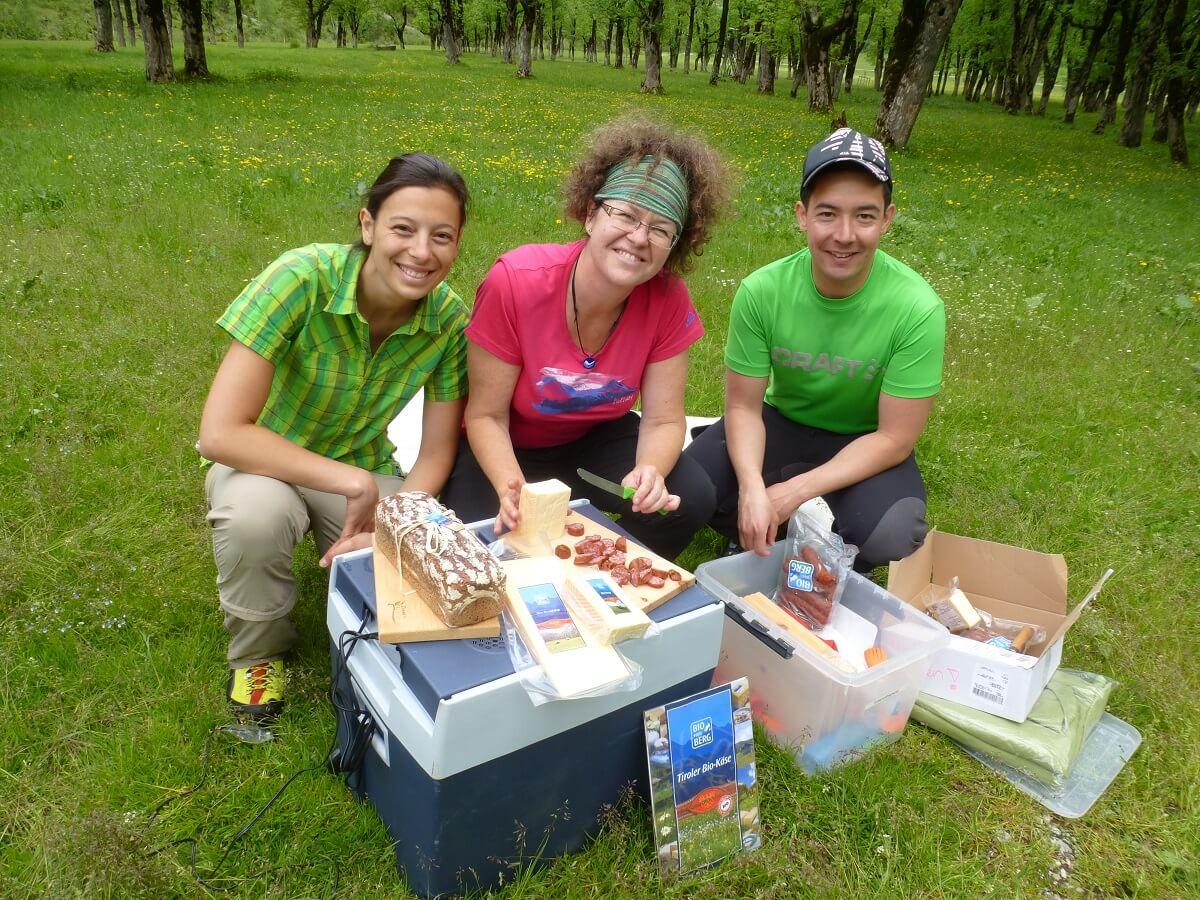 Jause von Bio vom Berg bei der Team Karwendel Aktion am Ahornboden